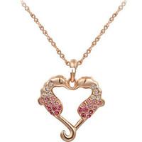 ingrosso collana del mare di cuore-JS N263 Loving Heart Sea Horse Collana in oro rosa con gioielli in nichel gratis Regali di San Valentino
