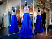 Wholesale Silver Full Length Evening Gown - 2016 New Prom Pageant Dresses Evening Formal Party Gown With A Line Full Beads Crystals Top Sexy Hollow Back Royal Blue Chiffon Long