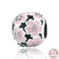 Wholesale Pandora Lights Pink - Primrose Floral Silver Charm with Cubic Zirconia and Light Pink Enamel Genuine 925 Sterling Silver for Original Pandora DIY Jewelry S264