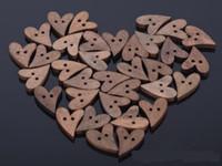 ingrosso pulsanti a forma di cuore in legno-freeshipping Brand New 100 / lot Brown legno in legno da cucire a forma di cuore pulsante Craft Scrapbooking 20mm per accessori di abbigliamento