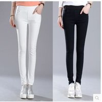 Women bleach tube - Spring and summer high waist jeans women s thin feet female Korean tide pants dark elastic waist straight tube