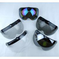 Wholesale Mask Moto - Universal 3-snap Flip up Adjustable Lens Bubble Visor Face Shield Mask for Motorcycle Helmet Moto Capacete Casco Half Helmets