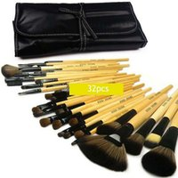 Wholesale Case Bb - 32Pcs BB Brand Makeup Brushes Set Professional Make Up Brush Kit Cosmetics Tool with Roll Up Case Wood Handle