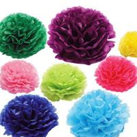 Wholesale Colorful Tissue Paper Flower Wedding - Large Colorful Tissue Paper Pom Poms 16 Colors 12 inch(30cm) Blooming Flower Balls Wedding Party Festival Decorations 10pcs lot