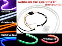 Wholesale Led Strips For Headlights - flexible DRL strip 30cm 45cm 60cm 85cm 90cm Illuminating White blue red greem Amber pink Switchback LED Strip Lights For Headlight Retrofit