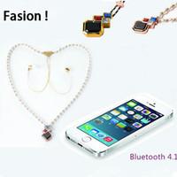 Wholesale Diamond Earphone Headphones - New design Girl Pearl Diamond Necklace Stereo Bluetooth In-ear Earphone Wireless Headset Handfree Headphones For iPhone Galaxy Phones