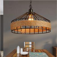 Wholesale Loft Lighting Fixtures - Loft Vintage rope Pendant Lamp Iron Retro lighting fixtures Industrial Style lamparas de techo vintage Edison Pendant Lights