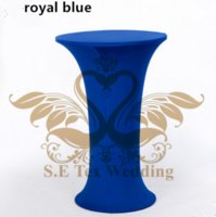 Wholesale Table Cloth For Wedding Cheap - Cheap Price Royal Blue Color Round Base Lycra Spandex Table Cover \ Table Cloth For Wedding