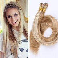 Wholesale Blonde 28inch - 2016 new keratin hair pre bonded I Tip stick tip hair extensions #60 Platinum Blonde brazilian straight hair 18-28inch