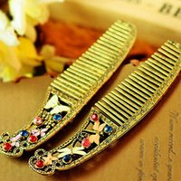 Wholesale Dragonfly Comb - Wholesale-2015 New Fashion Alloy Crystal Flower Combs For Women Vintage Retro Butterfly Dragonfly Combs High Quality Styleing Tools