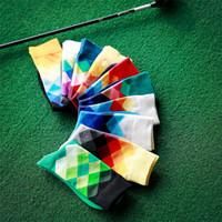 Wholesale British Matches - New Men sport socks gradual change rhombus male cotton socks color matching socks Cotton socks in British wind skateboarding socks 2208