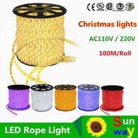 Wholesale Led Rgb 45w - Hot sales 110V 220V 100meters led 2wire round rope light LED Flex Rope Light PVC LED Light led flexible strip with Power plug