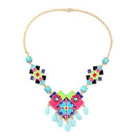 Wholesale Turquoise Bubble Necklaces - 2016 Color Enameled Symmetry Kite Necklace Turquoise Bubble and Droplet Tassels Necklaces for 2016 Spring Free Shipping