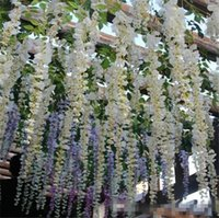 Wholesale Chinese Wedding Room Decoration - elegant Artificial Flowers Simulation Wisteria Vine Wedding Decorations Long Short Silk Plant Bouquet Room Office Garden Bridal Accessories