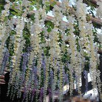silk wedding bouquet toptan satış-Zarif Yapay Çiçekler Simülasyon Wisteria Vine Düğün Süslemeleri Uzun Kısa Ipek Bitki Buket Odası Ofis Bahçe Gelin Aksesuarları