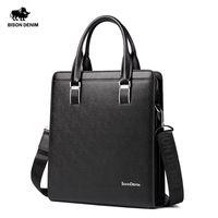 Wholesale Genuine Leather Bag For Mens - Wholesale-BISON DENIM Cowhide Genuine Leather Bag For Mens Hard Briefcase Business Bag Fashion Blue Classic Tablet Handbag Tote