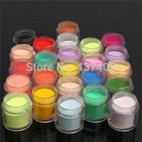 Wholesale 3d Color Acrylic Set - Hot Selling 24pcs 3D Fine Shiny Glitter Nail Art Kit Acrylic UV Powder Dust Tip Set Manicure Tools Random Color