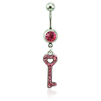 Body Piercing Fashion Bagues à ventre 316L Barbells en acier inoxydable Pink Rhinestone Keys Piercing Piercing bijoux