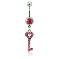 Wholesale Key Piercings - Body Piercing Fashion Belly Button Rings 316L Stainless Steel Barbells Pink Rhinestone Keys Navel Piercing Jewelry