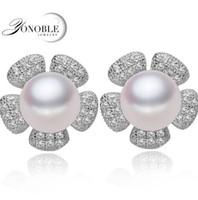 Wholesale Real Silver Earings - Fashion natural pearl earrings for women black pearl earings 925,freshwater real pearl earring silver jewelry girl birthday gift