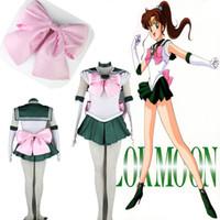 Wholesale custom cosplay for sale online - TOP Sale Anime Sailor Moon Sailor Jupiter Cosplay Costume Green Dress High Qualitiy Customized For Halloween