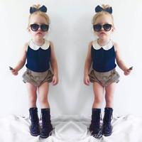 Wholesale Chiffon Girl S Pants - Fashion Kids Clothes Set Summer Girl Kids Chiffon Sleeve Less Top + Stripe Short Pants 4 s l