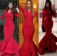 Wholesale Celebrity Skirts - Arabic Long Sleeves Red Evening Dresses Mermaid V Neck Tier Ruffles Skirt Long Formal Dresses Prom Party Gowns Celebrity Dresses 2017