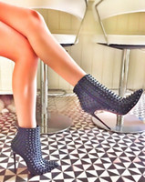 Wholesale Designer Boots Free Shipping - 2016 New Hot Sale Designer Woman Point Toe Heels Black Leather Ankle Boots Spikes Rivet Lady booties Free Shipping