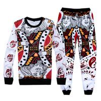 Wholesale Suited Poker - Wholesale-Newest funny 3d men's boy jogger pants King K poker face sweatshirt&sweatpants sport suit autumn hoodie sets