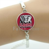 Wholesale Fans Channel - Cool ball fans gifts case for Alabama team Newest mix 32 sport team bracelet glass dome Football sport team logo bracelets NF011