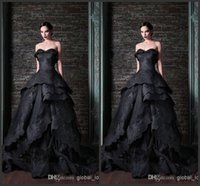 Wholesale Tie Up Back Wedding Gowns - 2016 New Gothic Black Wedding Dresses Vintage Sweetheart Ruffles Lace Ball Gowns Sweep Train Tie up Back Bridal Gowns Custom