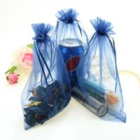 Wholesale Cheep Gifts - 17x23cm Dark Blue Drawable Organza Jewelry Bags Regalo Boda Cheep Wedding Christmas Packaging Gift Bags 500pcs lot Wholesale