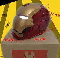 Wholesale Iron Man Movie Helmet - Huong Movie Figure 1:1 Avengers Iron man MK7 Helmet light Collectors ABS Action Figure Toys Christmas Gift Model Collectibles