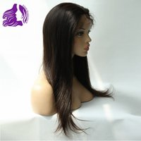 Wholesale Stretch Lace Front Wigs - Front Lace Wigs with Stretch Lace Back Straight Natural Color Unprocessed Brazilian Human Hair Wig 120% Density