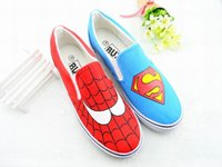 Wholesale Hand Painted Slip Sneakers - Hand-painted Canvas Cartoon Shoes Superman Spiderman Graffiti Handpainted Shoes Low Sneakers Loafers Men Women Shoes Cheap Sale
