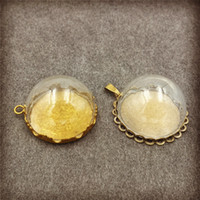 Wholesale 25mm Glass Dome Cabochon - 25mm half glass ball glass dome cover cabochon with base set, glass globe vial pendant charms handmade finding supply Christmas decoration