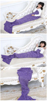 Wholesale Children Towels Cheapest - CHEAPEST!!ONE PIECE Mermaid Tail Blanket SleeperS adult baby 10 Color Crochet Sea-Maid Fish Scales Sofa Bed Mat Children Christmas gift