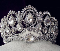 Wholesale Cheap Crystal Headbands - Sparkly Beaded Crystals Wedding Crowns 2017 Bridal Crystal Crown Headband Hair Accessories Party Wedding Tiara Cheap