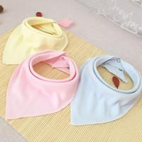 Wholesale Dribble Bibs Wholesale - Double Layers Cotton Baby Bandana Bibs Soft Comfy Burp Cloths Infants Dribble Solid Color Burp Cloths Baberos VT0328