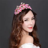 Wholesale Tiaras Para Pelo - Vintage Pink Bride Crowns Beautiful Horquillas De Pelo Para Mujer 2016 Elegant Princess Crown Hair Ornaments Tiaras Handmade