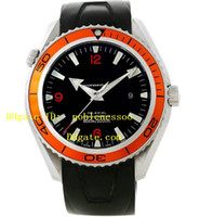 Wholesale Orange Planet Ocean - Luxury brand Top quality Orange Bezel Planet Ocean 2909.50.91 AUTO Co-Axial Professional BLACK RUBBER 600M Luxury Automatic Watches