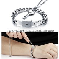 Wholesale lock key necklace couple - Stainless Steel Concentric Lock Couples Jewelry Women Heart Shaped Zircon Key Pendant Necklace Lock Men Cuff Bracelet Unique Gift for Lovers