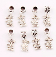 Wholesale Diy Charms Bunny - 100pcs lot 9.8x25.5mm Tibetan Silver The Easter Bunny Rabbit Carrot Charm Beads Fit European Bracelets Jewelry DIY B059