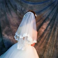 Wholesale Wholesale Netting - Wholesale Veils High quality Real photos Purple White netting Veils for Bridal Ivory good Tulle with lace Fast Free shipping out Veils