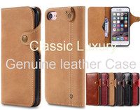 Wholesale Hand Made Mobile Phone - Hand made Vintage luxury Genuine leather Wallet Case with lanyard Magnetic button for iPhone 6 6s 7 plus Phone Cases Mobile Covers
