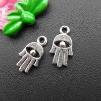 Wholesale Ancient Buddha - DIY jewelry accessories Ancient silver hamsa hand charms bracelets necklace buddha hand pendant zipper charms CP22004 16x9mm 100pcs lot