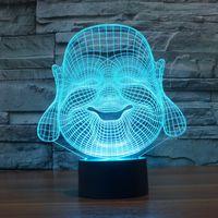 Wholesale Buddha Led Light - 2017 Maitreya Buddha 3D Optical Lamp Night Light 9 LEDs Night Light DC 5V Colorful 3D Lamp