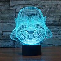 lâmpada de luz de buddha venda por atacado-2017 Buda Maitreya 3D Optical lamparina luz 9 LEDs Night Light DC 5V lâmpada 3D colorido