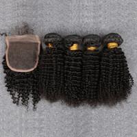 bakire kıvırcık afro örgü toptan satış-Kapatma Ile malezya Bakire Saç kinky kıvırcık saç kapatma Ile 4 demetleri malezya kıvırcık saç kapatma afro kıvırcık