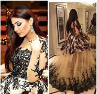 abaya musulman noir achat en gros de-Robes de soirée Vintage arabe Quinceanera musulman manches longues mariée Dubai Kaftan Abaya robes de bal de la soirée voir à travers de la dentelle noire BA3504